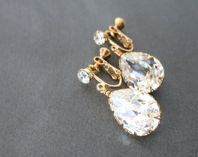 Sara - Clip-On Swarovski Crystal Teardrop Earrings, Gifts for her, Gold Bridesmaid Earrings, Bridal Jewelry, Champange gold Wedding Jewelry