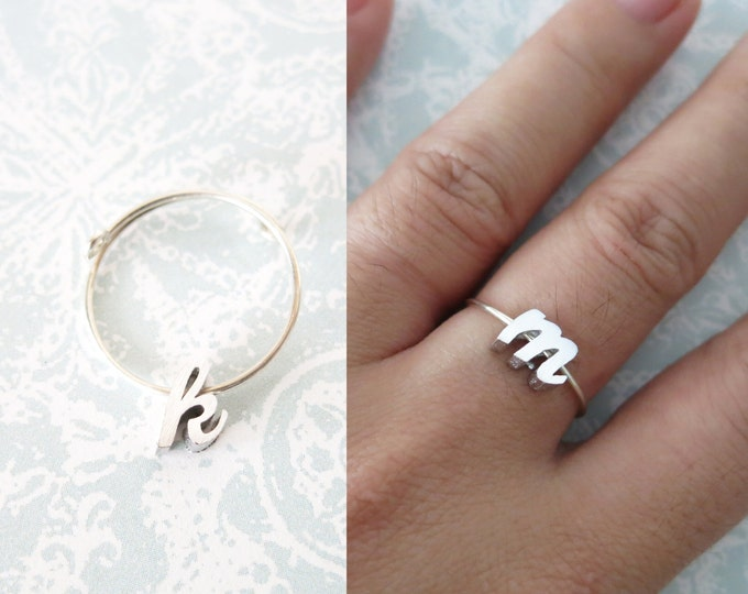 Personalised Silver Initial Letter Ring - Silver Bridesmaid gifts, silver letter knuckle ring, best friend sister girlfriend bridesmaid ring
