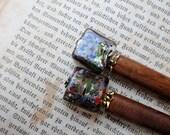 Calma - simple hair sticks with rectangular murano glass beads