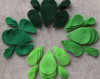 Green Day - Teardrop Leaves Value Pack - 180 Die Cut Felt Shapes