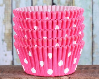 Pink Polka Dot Cupcake Liners, Pink Cupcake Wrappers, Cupcake Cases, Stay Bright Greaseproof Cupcake Liners, Pink Polka Dot Baking Cups (50)