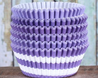 Purple Striped Cupcake Liners, Purple Cupcake Wrappers, Purple Cupcake Cases, Stay Bright Greaseproof Cupcake Liners, Baking Cups (50)