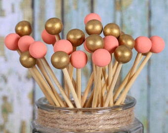Coral & Gold Lollipop Sticks, Cake Pops Sticks, Painted Rock Candy Sticks, Wooden Lollipop Sticks, Wedding Cake Pop Sticks (12)