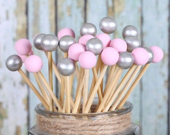 Pink & Silver Lollipop Sticks, Cake Pop Sticks, Wedding Cake Pop Sticks, Painted Rock Candy Sticks, Wooden Sticks, Dessert Skewers (12)