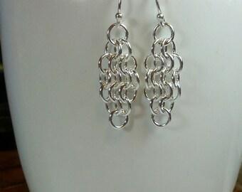 Dainty Sterling Silver Mesh Earrings - size 4