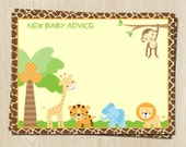 New Baby Advice Cards, Jungle Safari Baby Shower Theme, Set of 48 Advice for New Parents Cards, FREE shipping