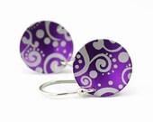 Earrings, Purple Paisley Aluminum Disc, Argentium Silver Earwires, Handmade