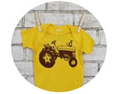 Tractor Baby Onepiece Bodysuit, Bright Lemon Yellow, Hand Printed, Screenprinted Shirt, Cotton Baby Clothes, Farm Fresh, Farming Equipment
