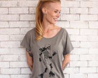 Skeleton Skater Blouse, Hand Printed Screenprint Shirt, Over-sized Dolman Tshirt, Taupe. Tri-blend, Trendy Summer Clothing, Roller Derby