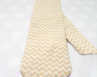 Mens Tie, Tan Chevron Tie, Beige Chevron, Camel Chevron Tie, Tan and Cream Chevron Tie