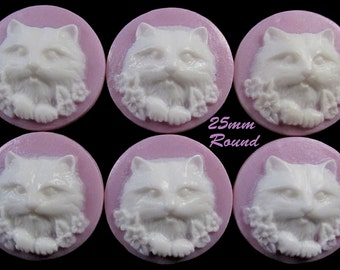"25mm Round Cameo - White/Lilac - ""Flower Girl"" - 6 pcs : sku 02.01.14.5 - K5"