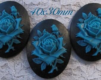 "40x30mm Cameo - Dusky Blue/Black - ""Rose Solitaire"" - 3 pcs : sku 02.01.14.8 - J23"