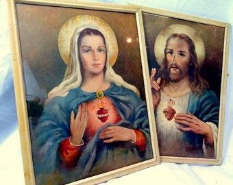 Vintage 1950s Florence Kroger Sacred Heart Christ and Our Lady Icon Framed Print Set