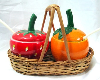 Vintage Orange and Strawberry Jelly and Jam Server