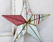 8in deck the halls barn star ornament