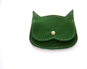 deep green felt  Cat coin purse, mini pouch, vegan coin purse