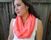 Cashmere Silk Infinity Scarf in Almost Neon Coral - Pashmina Fall Accessory by Tejidos on Etsy Gift for Her Fall and Autumn Scarf