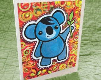Koala & Eucalyptus Leaves Greeting Card