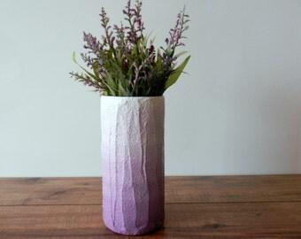 Ombre Purple Vase /  lavender flower vase / dusty pastel purple / concrete and glass vase