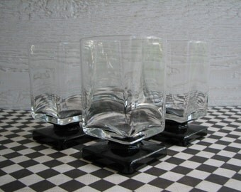 Set of 4 Glasses - Black and Clear - Square - Stemware -  Vintage - Juice Size - Excellent Condition