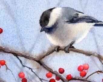 Berry Bush Chickadee print of original watercolor bird painting by Barbara Fox