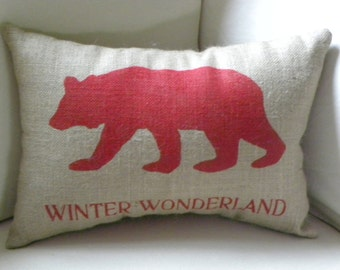 READY TO SHIP Burlap (hessian) red bear pillow cushion for Christmas or winter