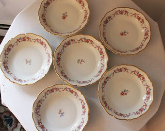 """Set of 6 Edelstein Bavarian China Pink and Blue Floral Cordelia 8"""" Soup Bowls"""