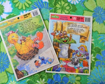 Vintage Set of Two 1980s Sesame Street Puzzles