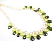 Green Statement Necklace, Green Zircon Necklace, Zircon, 14K Goldfilled Chain, Natural Zircon, Wire Wrapped Necklace, SKU 2923