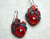 Tango - Red, Black and Gray freeform peyote seed beaded earrings. Prom, wedding, special occasion. Gothic wedding jewelry
