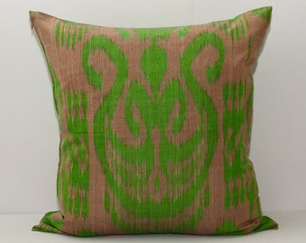 green brown ikat, green ikat, brown ikat, ikat pillow, ikat pillow cover, 20x20, ikat pillowcase, ikat cushion