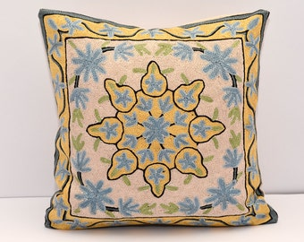 16x16 silk fully hand embroidered cushion cover, great quality, accent pillow, cream, yellow and blue, cream pillows, blue cream yellow