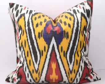 18x18 ikat pillow, ikat cushion, uzbek ikat, red, yellow, white, pillow, yellow pillow, yellow cushion
