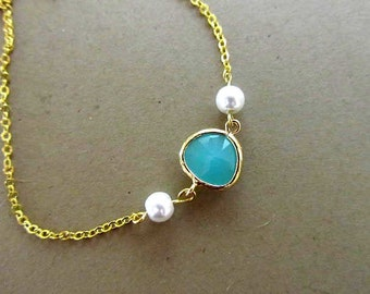 tuquoise glass setting  pearl connected necklace or bracelet