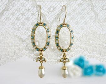Blue wedding earring, Blue wedding, Blue earrings, Wedding earrings, Blue chandelier earrings, Chandelier earrings bridal