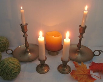 5 piece vintage Brass Candle Holders lot, Instant collection. Eclectic Boho mix & match styles. Shabby, urban, romantic cottage decor