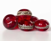 """Organic Red Accent Beads Set """"Luscious Berry""""  ~ Set of 6 Lampwork Glass Spacer Beads ~ MTO"""