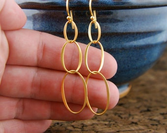Gold oval infinity earrings, long earrings, eternity, interlocking, entwined, gold earrings, linked ovals, bridal bridesmaid, drop earrings