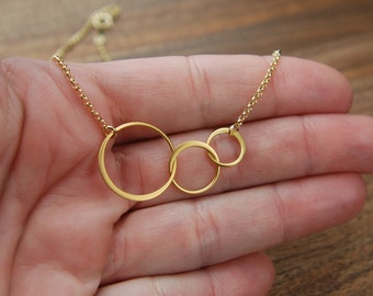 Gold entwined rings and gold filled necklace, joined rings, gold circles, linked circles, three circles