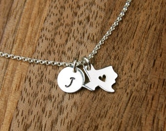 Texas state charm with heart and initial necklace in sterling silver, heart of Texas, customized, state of Texas, Texas necklace