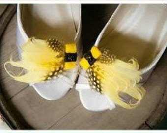 Shoe Clips Sunshine Yellow Black Feathers Bow. Bright Big Day Couture Bride Bridal Bridesmaid Fashion Gift. Statement Colorful Happy Pantone