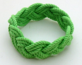 Rope Bracelet woven from Lime Green Cotton