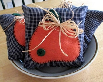Pumpkin Bowl Fillers, Pumpkin Pillow Tucks, Shelf Sitters, Set of 3, Fall Decor, Original Design, Home Decor