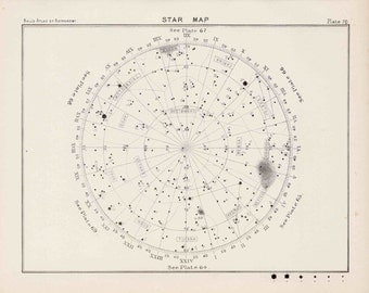 1892 ANTIQUE STAR MAP lithograph original antique celestial astronomy star chart 70 antique print