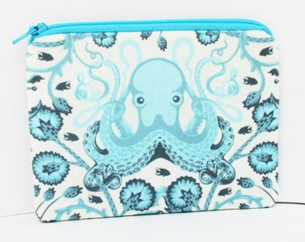 Octopus Garden, Small Zipper Pouch, Coin Purse