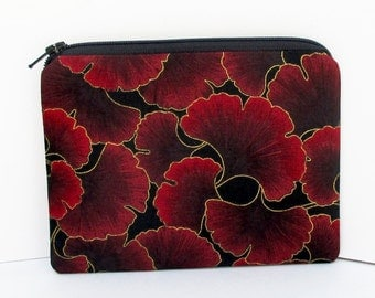 Small Zipper Pouch, Crimson Red Ginkgo Leaves, Coin Purse