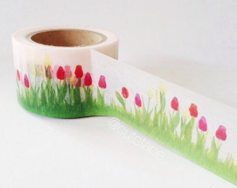 Wide Small Tulip Washi Tape Large Wide Washi tape 30mm