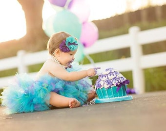 Mermaid in Purple Birthday Tutu Skirt Dress, Baby Girls Under the Sea Birthday Dress
