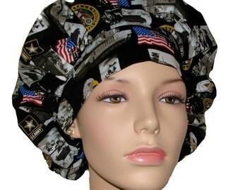 Bouffant Scrub Hat-United States Army fabric-ScrubHeads-Scrub Cap-Surgical Scrub Hat-Scrub Hats For Women-Arny Scrub Hat-Military Scrub Hat
