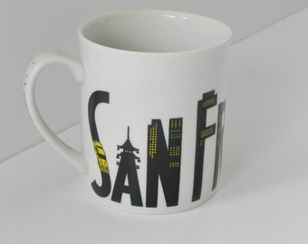 San Francisco Mug by Takahashi. Local Landmarks in Letters.